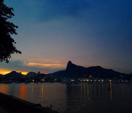 Urca bay. Mount Corcovado at sunset.
